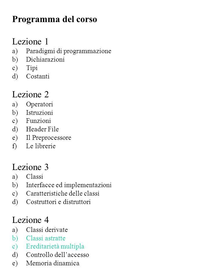 Programma del corso Lezione 1 Lezione 2 Lezione 3 Lezione 4