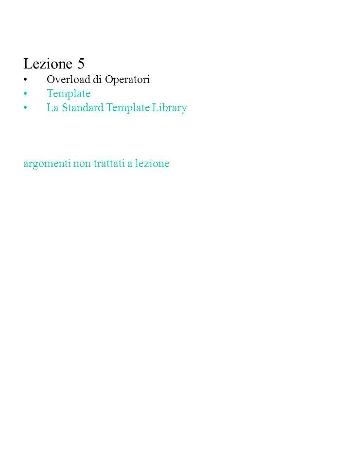 Lezione 5 Overload di Operatori Template La Standard Template Library
