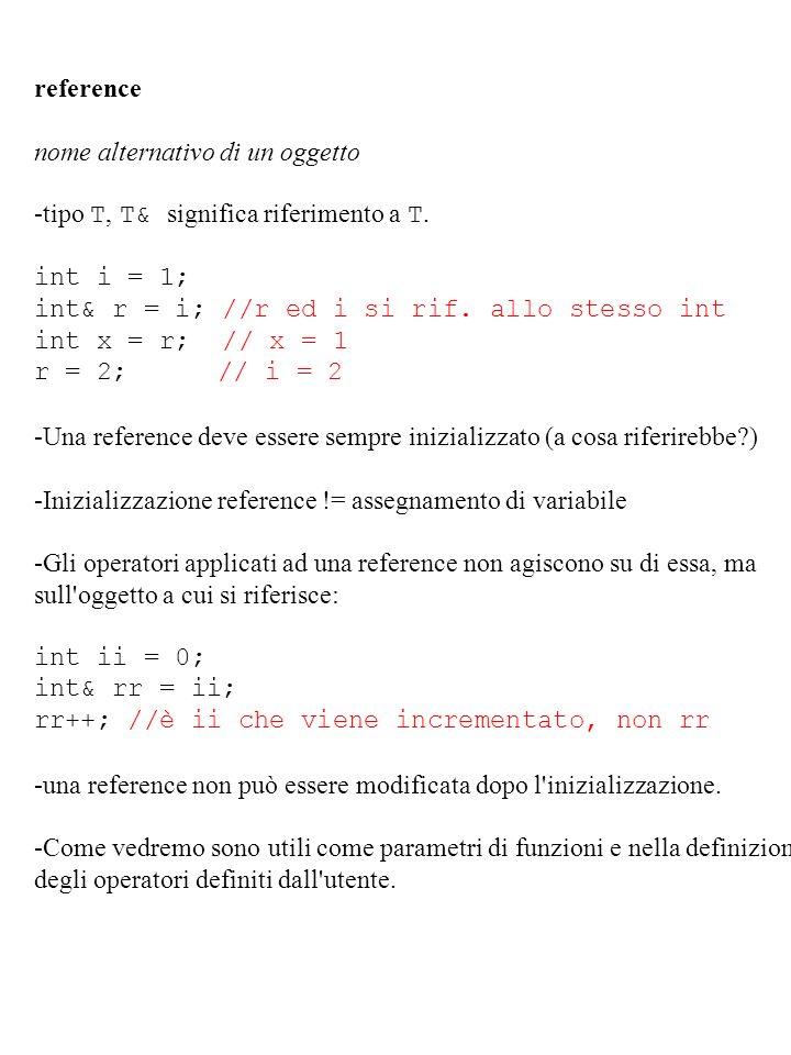 reference nome alternativo di un oggetto. -tipo T, T& significa riferimento a T. int i = 1; int& r = i; //r ed i si rif. allo stesso int.