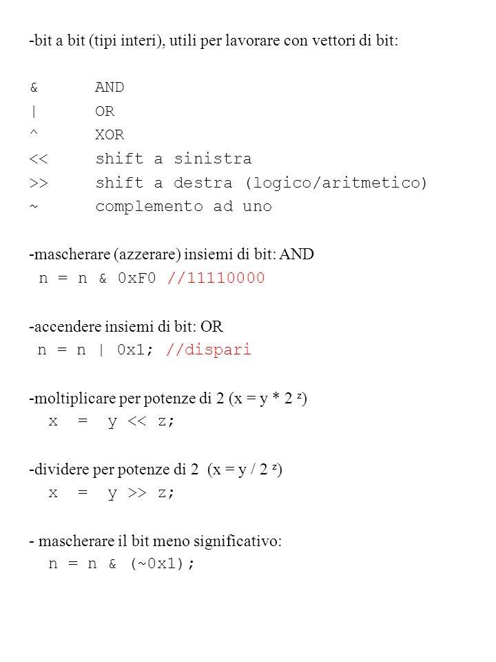 -bit a bit (tipi interi), utili per lavorare con vettori di bit: