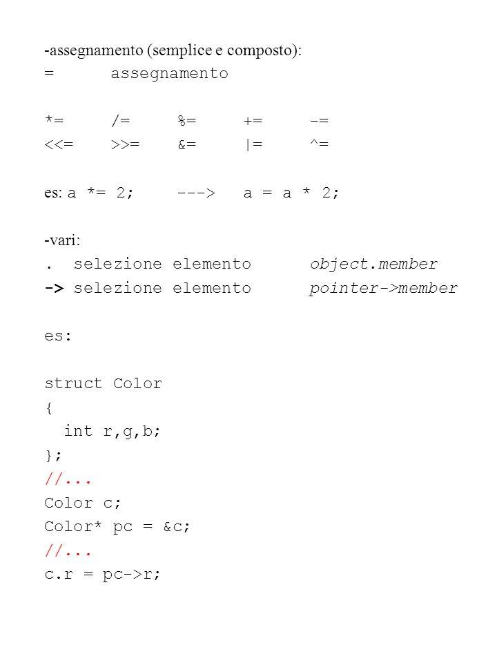 -assegnamento (semplice e composto):