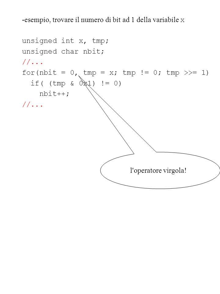-esempio, trovare il numero di bit ad 1 della variabile x
