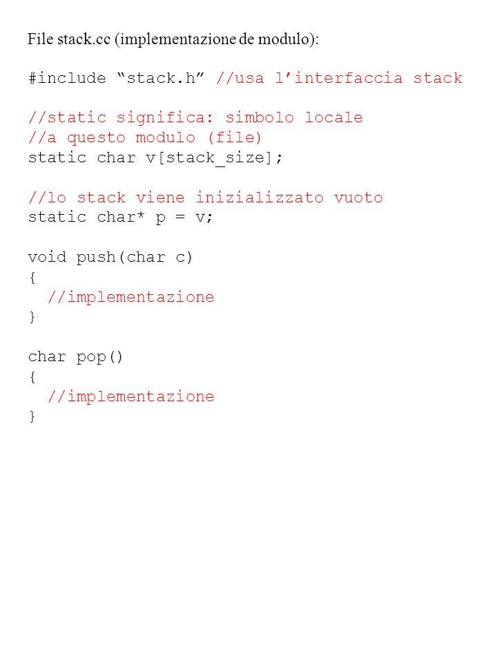 File stack.cc (implementazione de modulo):