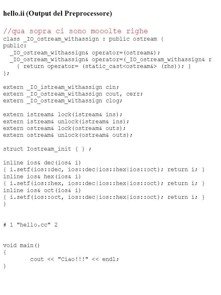 hello.ii (Output del Preprocessore) //qua sopra ci sono mooolte righe