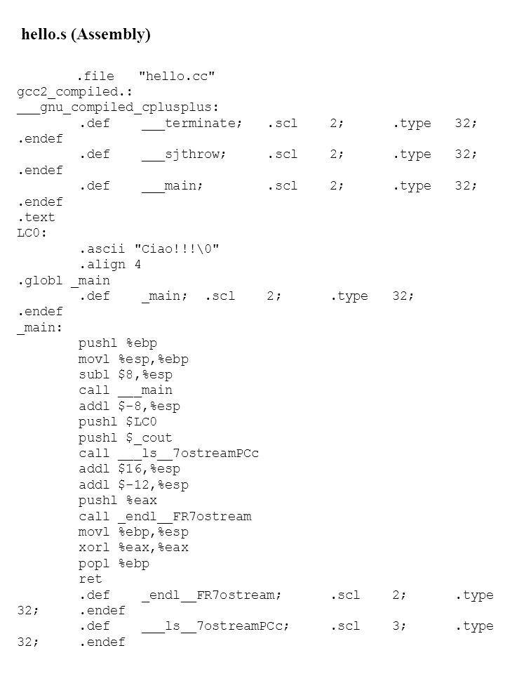 hello.s (Assembly) .file hello.cc gcc2_compiled.: