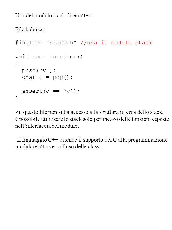 Uso del modulo stack di caratteri: