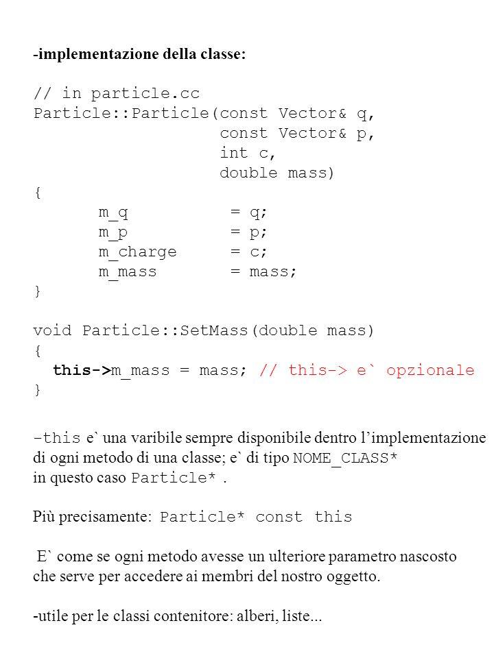 -implementazione della classe: