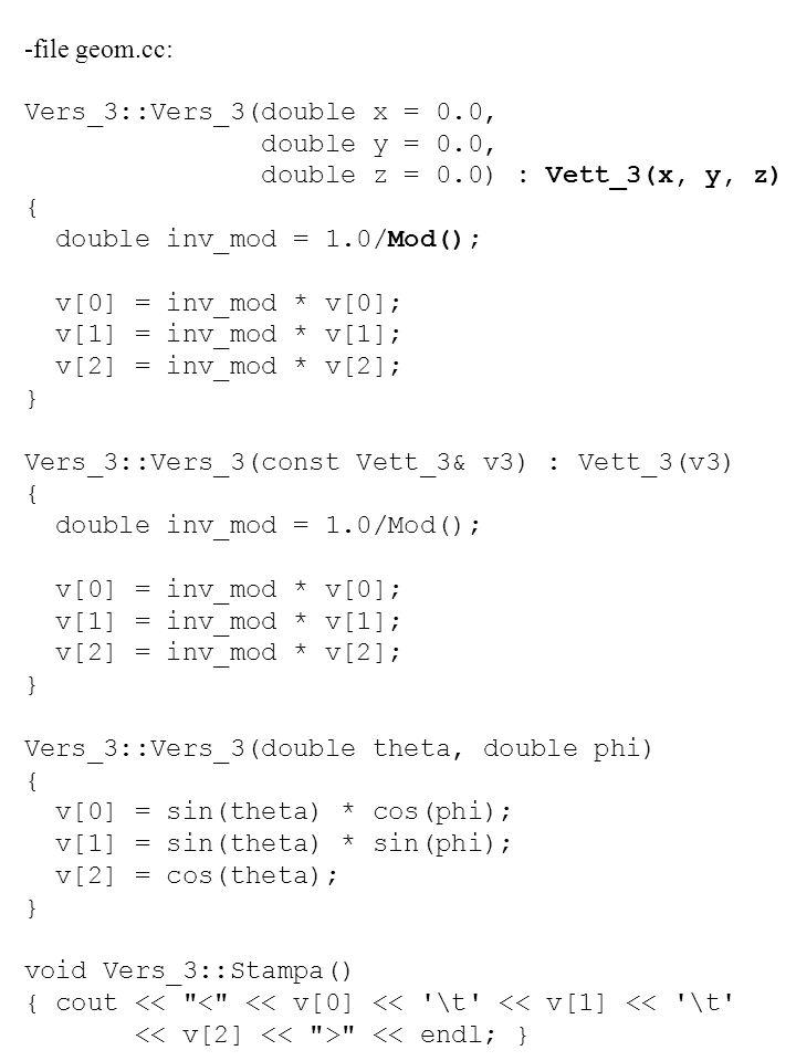 -file geom.cc: Vers_3::Vers_3(double x = 0.0, double y = 0.0, double z = 0.0) : Vett_3(x, y, z) {