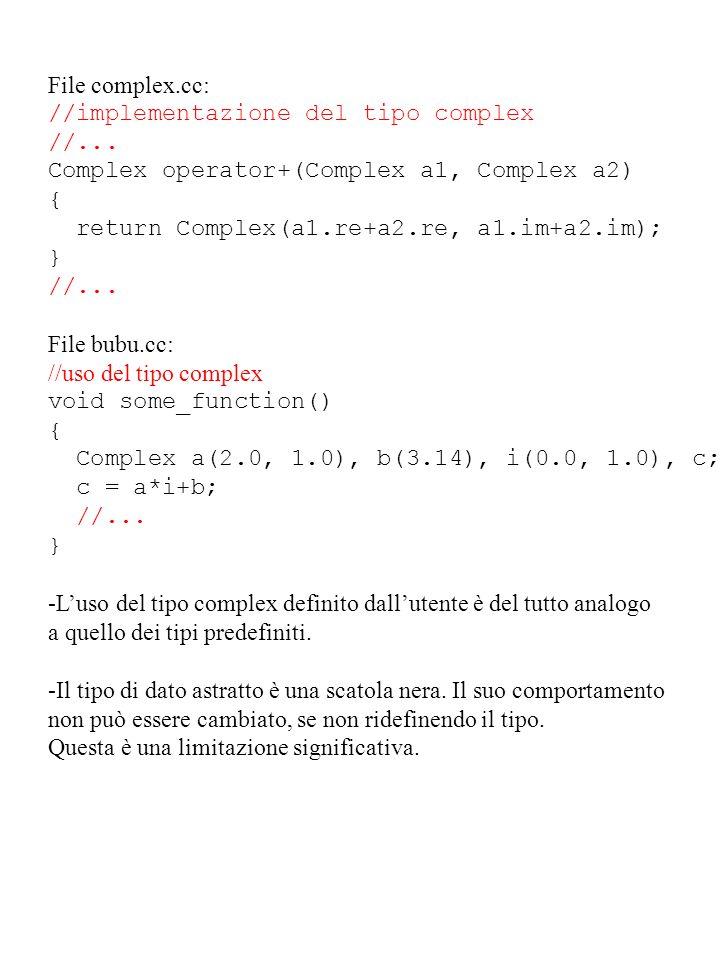 File complex.cc: //implementazione del tipo complex. //... Complex operator+(Complex a1, Complex a2)