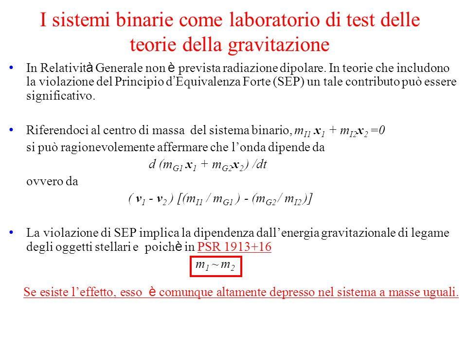 I sistemi binarie come laboratorio di test delle teorie della gravitazione