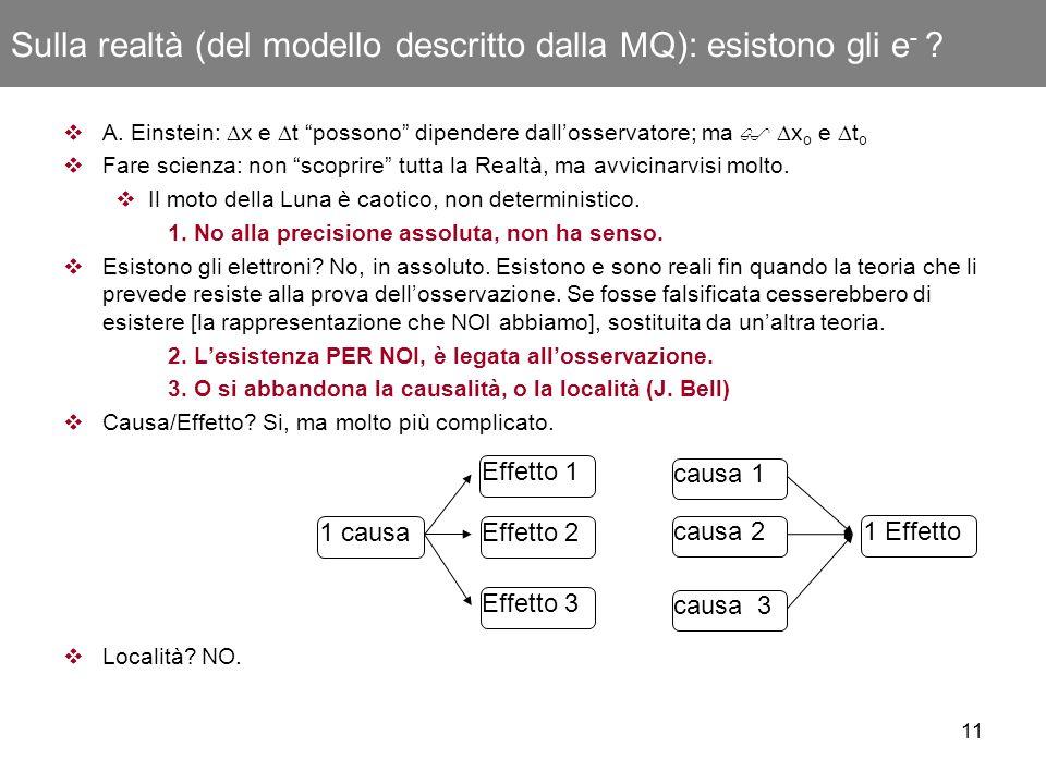 Sulla realtà (del modello descritto dalla MQ): esistono gli e-