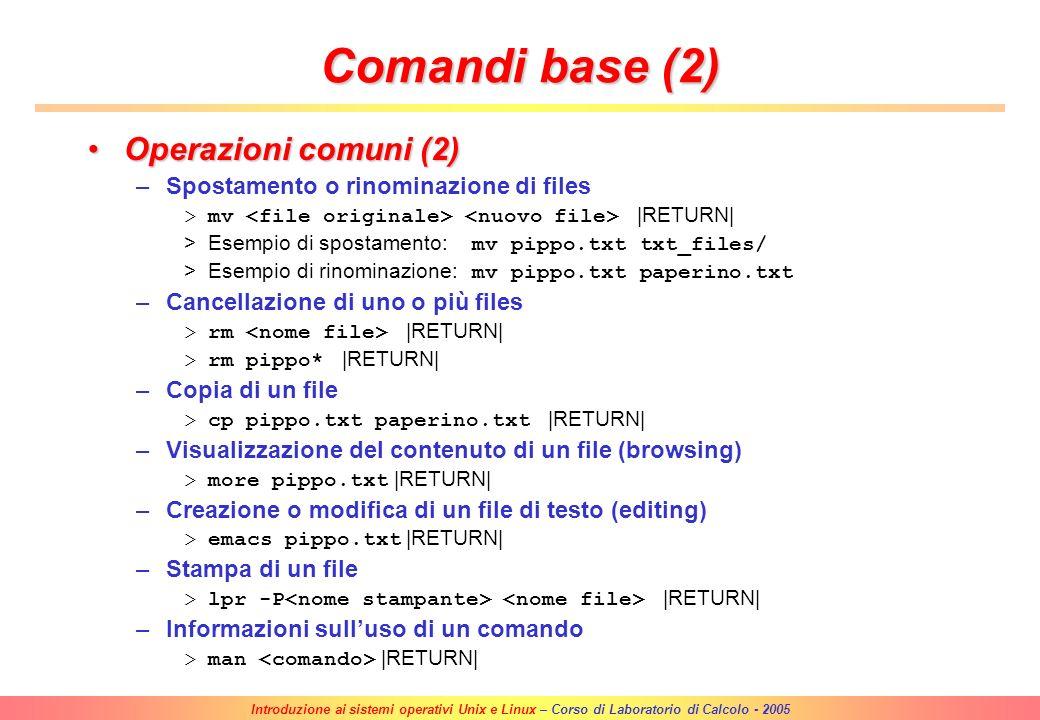 Comandi base (2) Operazioni comuni (2)