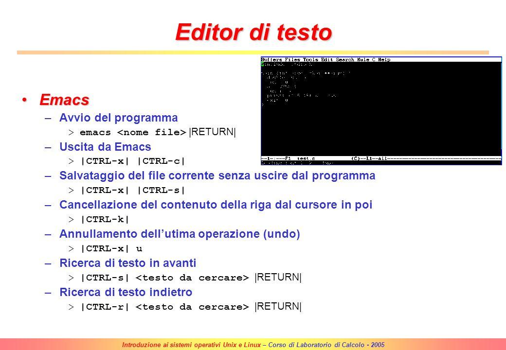 Editor di testo Emacs Avvio del programma Uscita da Emacs