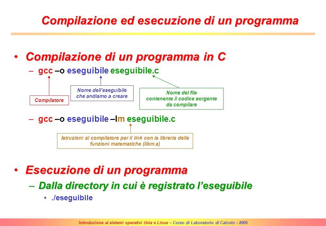 Compilazione ed esecuzione di un programma