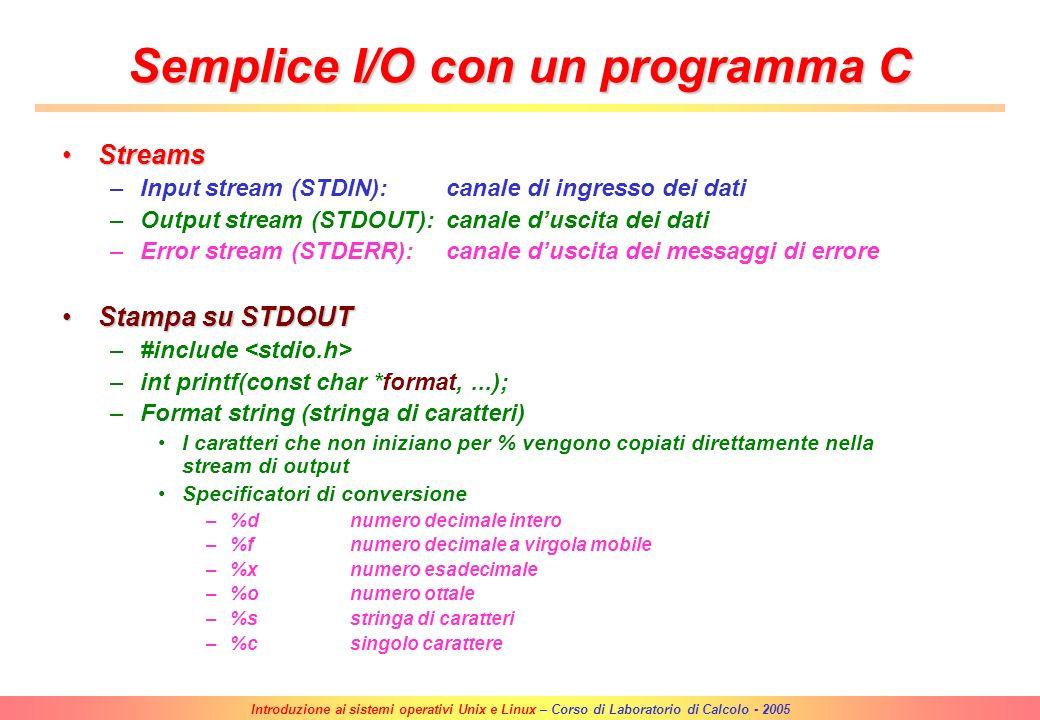 Semplice I/O con un programma C