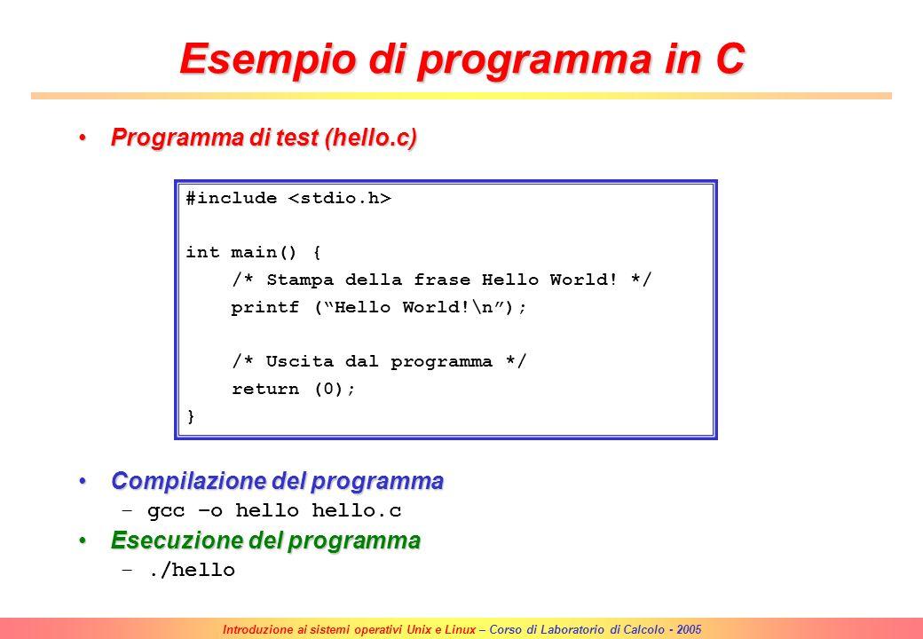 Esempio di programma in C