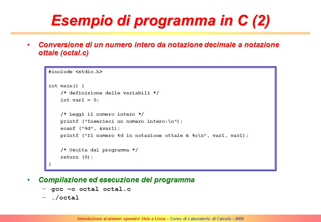 Esempio di programma in C (2)