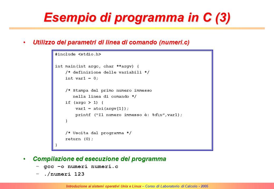 Esempio di programma in C (3)