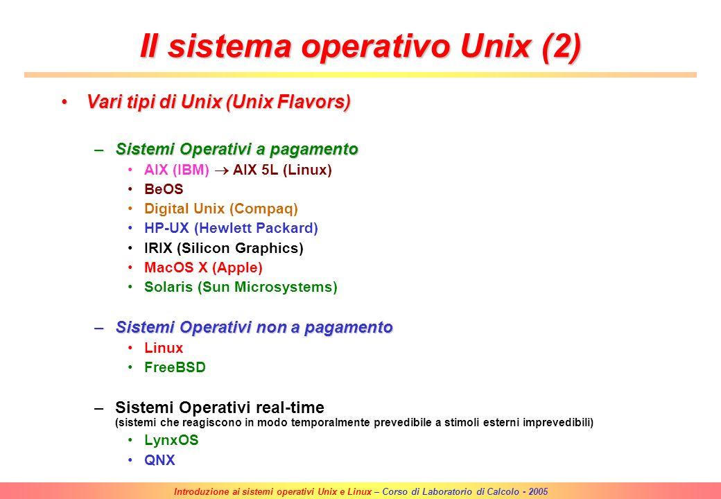 Il sistema operativo Unix (2)