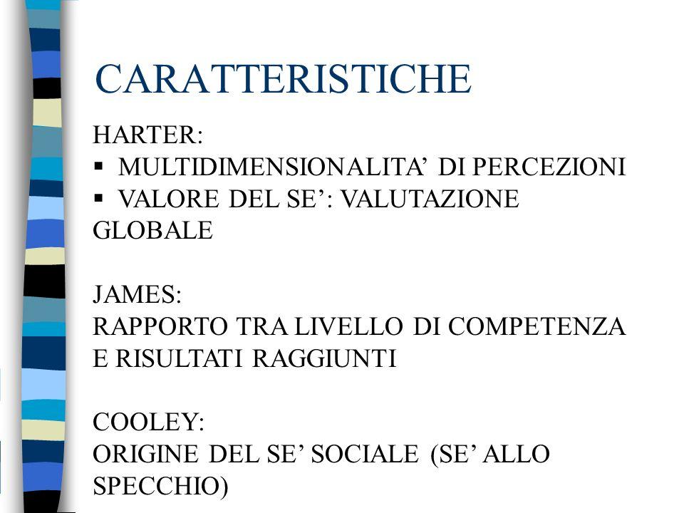 CARATTERISTICHE HARTER: MULTIDIMENSIONALITA' DI PERCEZIONI