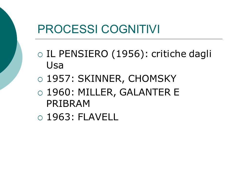 PROCESSI COGNITIVI IL PENSIERO (1956): critiche dagli Usa