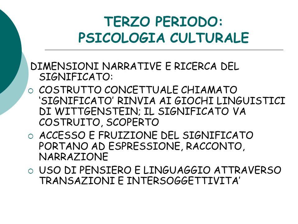 TERZO PERIODO: PSICOLOGIA CULTURALE