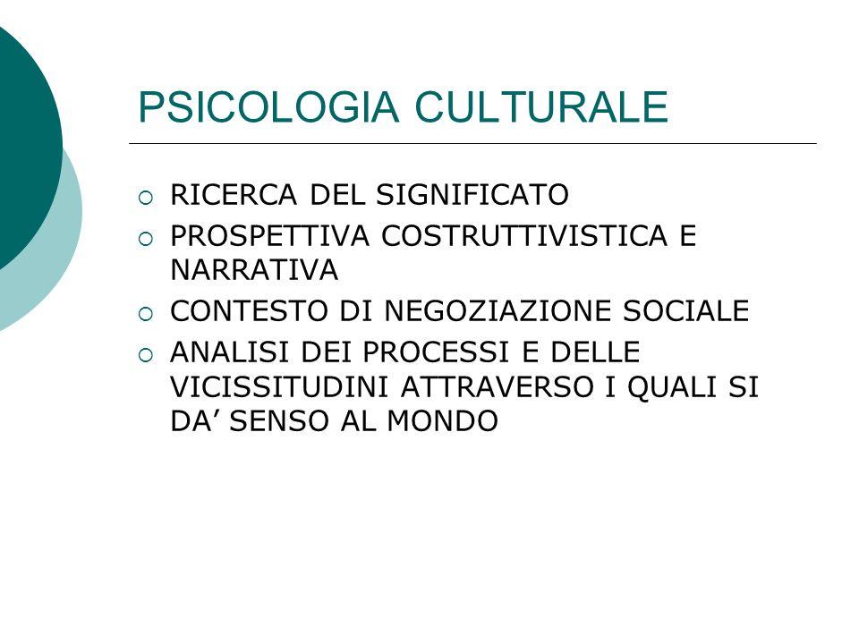 PSICOLOGIA CULTURALE RICERCA DEL SIGNIFICATO