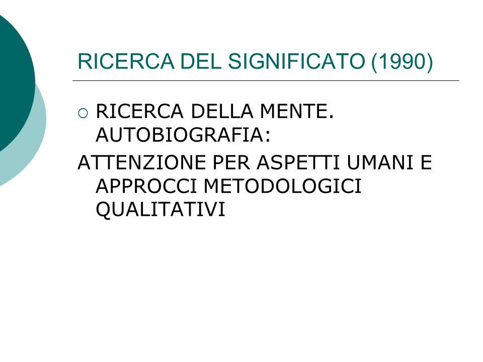 RICERCA DEL SIGNIFICATO (1990)