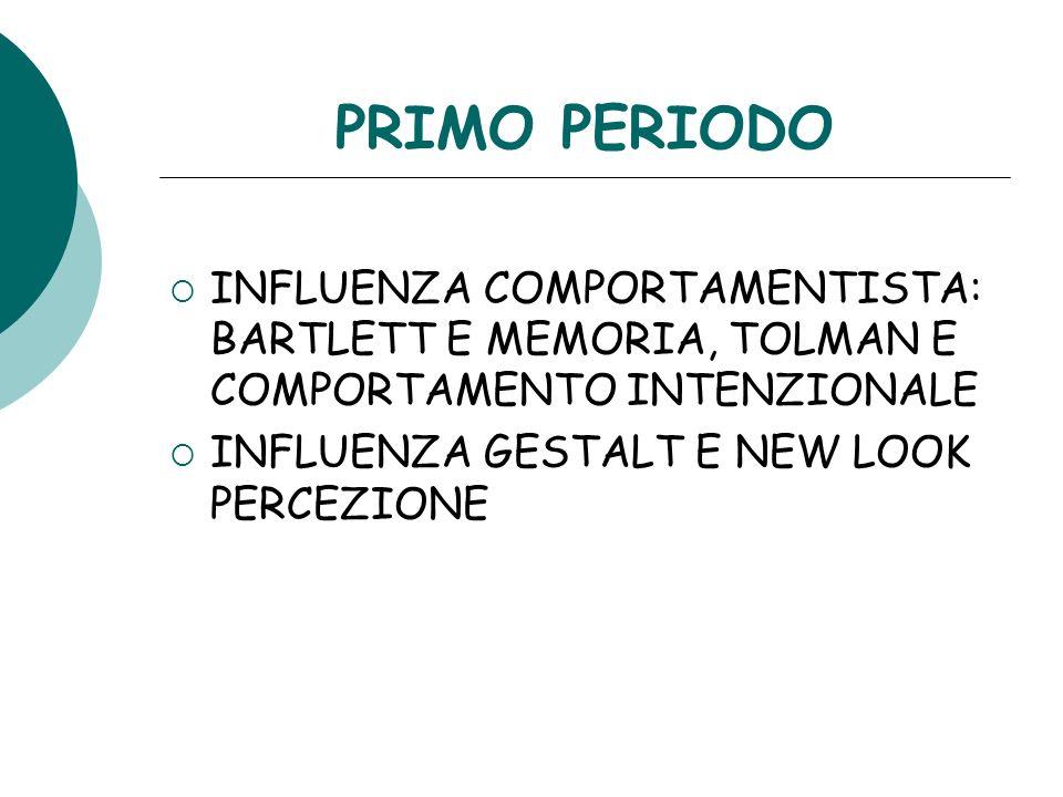 PRIMO PERIODO INFLUENZA COMPORTAMENTISTA: BARTLETT E MEMORIA, TOLMAN E COMPORTAMENTO INTENZIONALE.