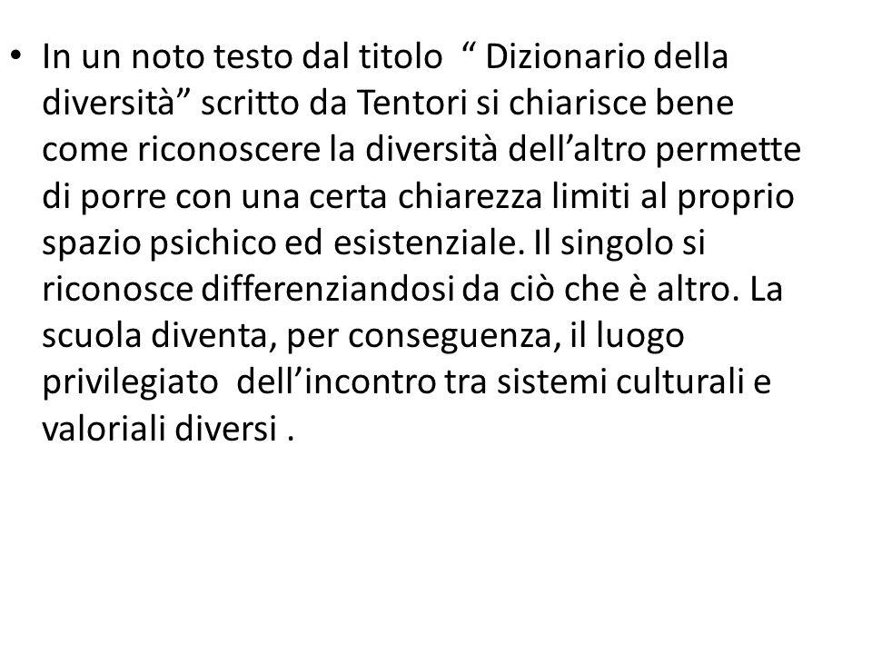 In un noto testo dal titolo Dizionario della diversità scritto da Tentori si chiarisce bene come riconoscere la diversità dell'altro permette di porre con una certa chiarezza limiti al proprio spazio psichico ed esistenziale.