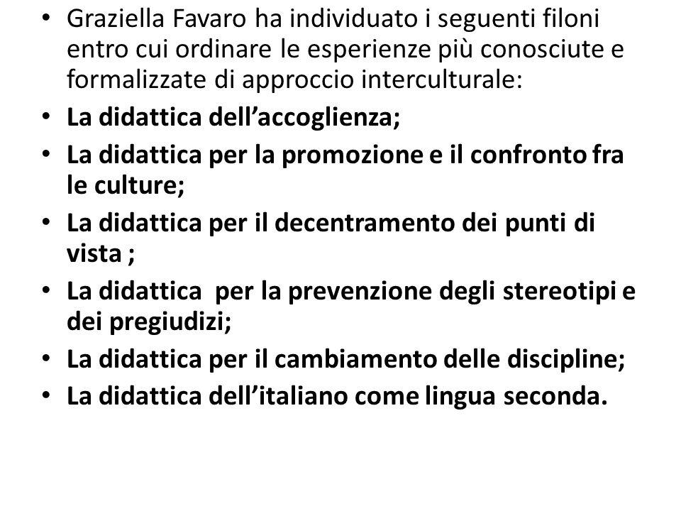 Graziella Favaro ha individuato i seguenti filoni entro cui ordinare le esperienze più conosciute e formalizzate di approccio interculturale: