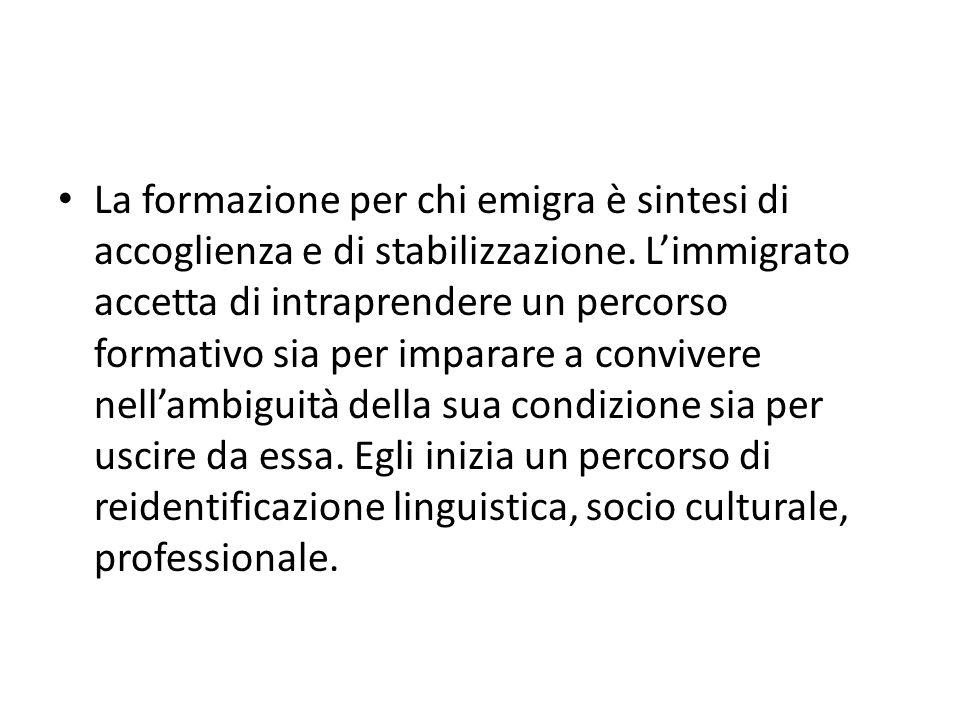 La formazione per chi emigra è sintesi di accoglienza e di stabilizzazione.