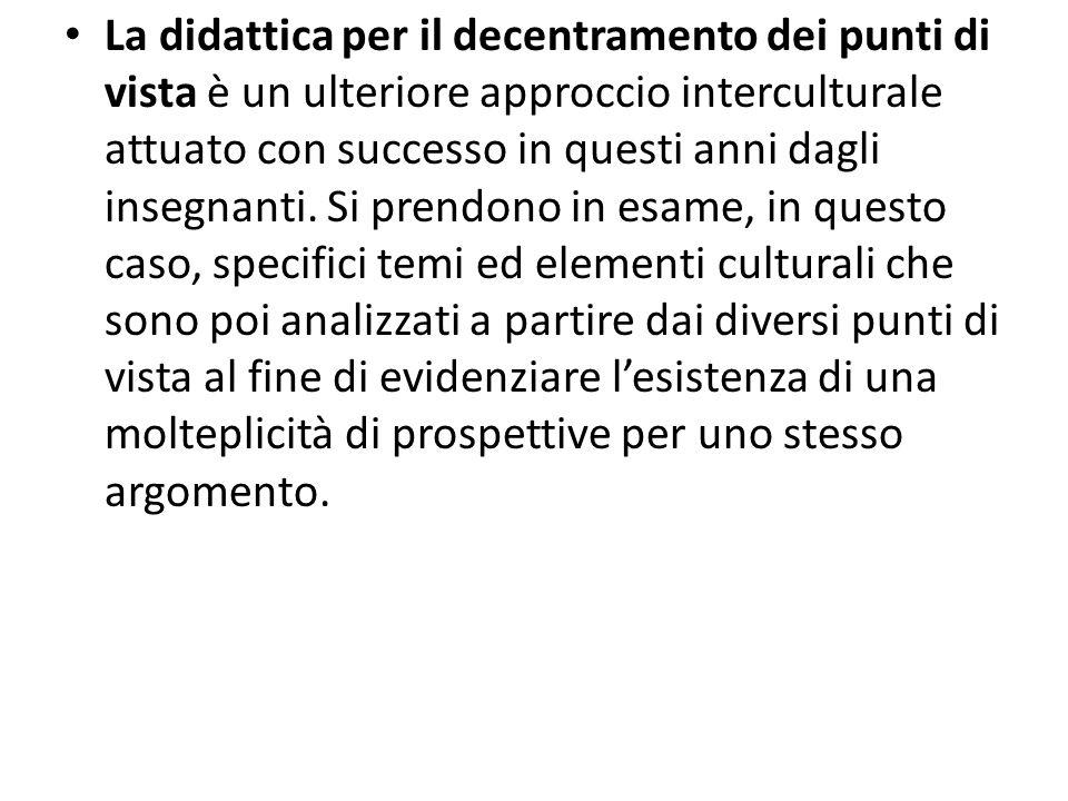 La didattica per il decentramento dei punti di vista è un ulteriore approccio interculturale attuato con successo in questi anni dagli insegnanti.