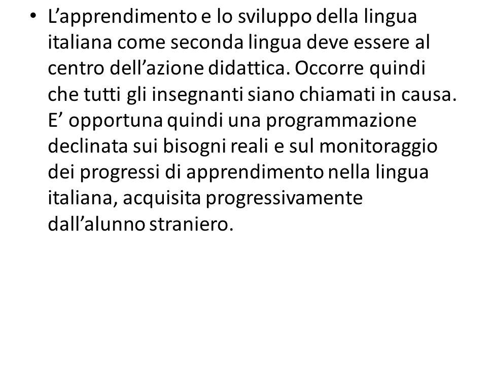 L'apprendimento e lo sviluppo della lingua italiana come seconda lingua deve essere al centro dell'azione didattica.