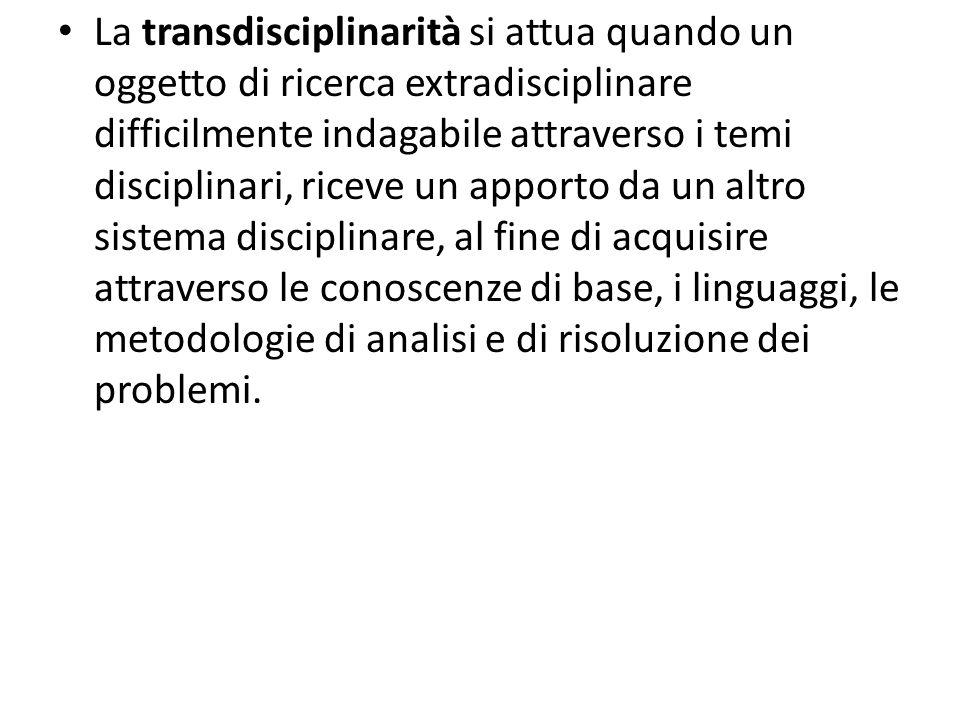 La transdisciplinarità si attua quando un oggetto di ricerca extradisciplinare difficilmente indagabile attraverso i temi disciplinari, riceve un apporto da un altro sistema disciplinare, al fine di acquisire attraverso le conoscenze di base, i linguaggi, le metodologie di analisi e di risoluzione dei problemi.