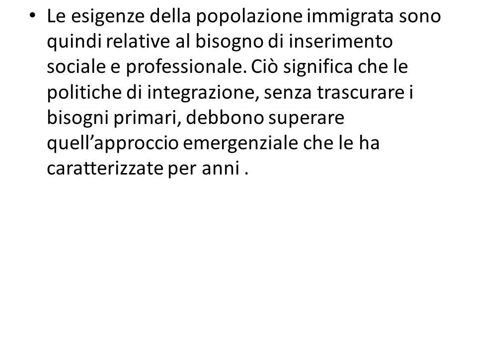 Le esigenze della popolazione immigrata sono quindi relative al bisogno di inserimento sociale e professionale.