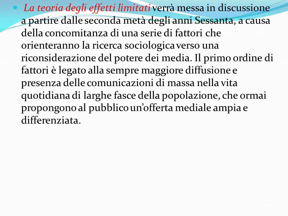 La teoria degli effetti limitati verrà messa in discussione a partire dalle seconda metà degli anni Sessanta, a causa della concomitanza di una serie di fattori che orienteranno la ricerca sociologica verso una riconsiderazione del potere dei media.