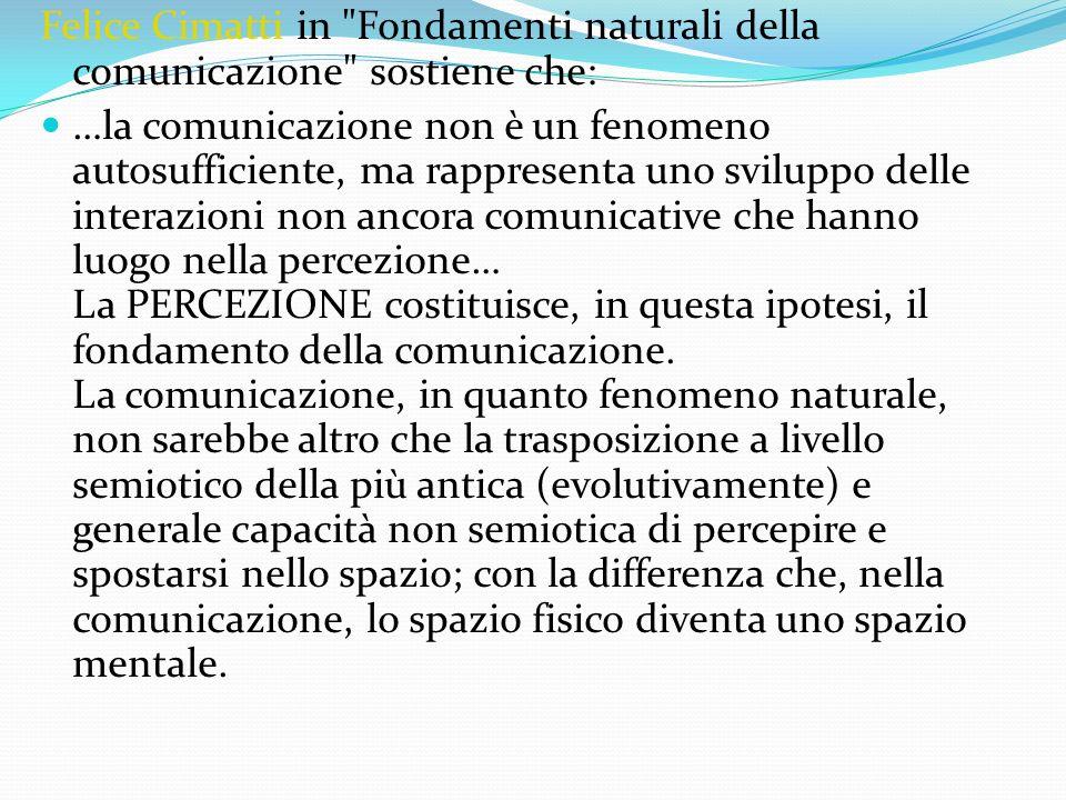 Felice Cimatti in Fondamenti naturali della comunicazione sostiene che: