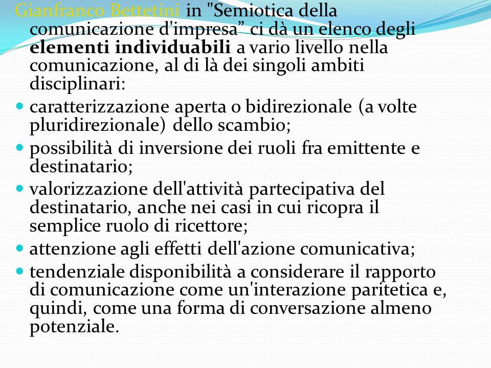Gianfranco Bettetini in Semiotica della comunicazione d impresa ci dà un elenco degli elementi individuabili a vario livello nella comunicazione, al di là dei singoli ambiti disciplinari: