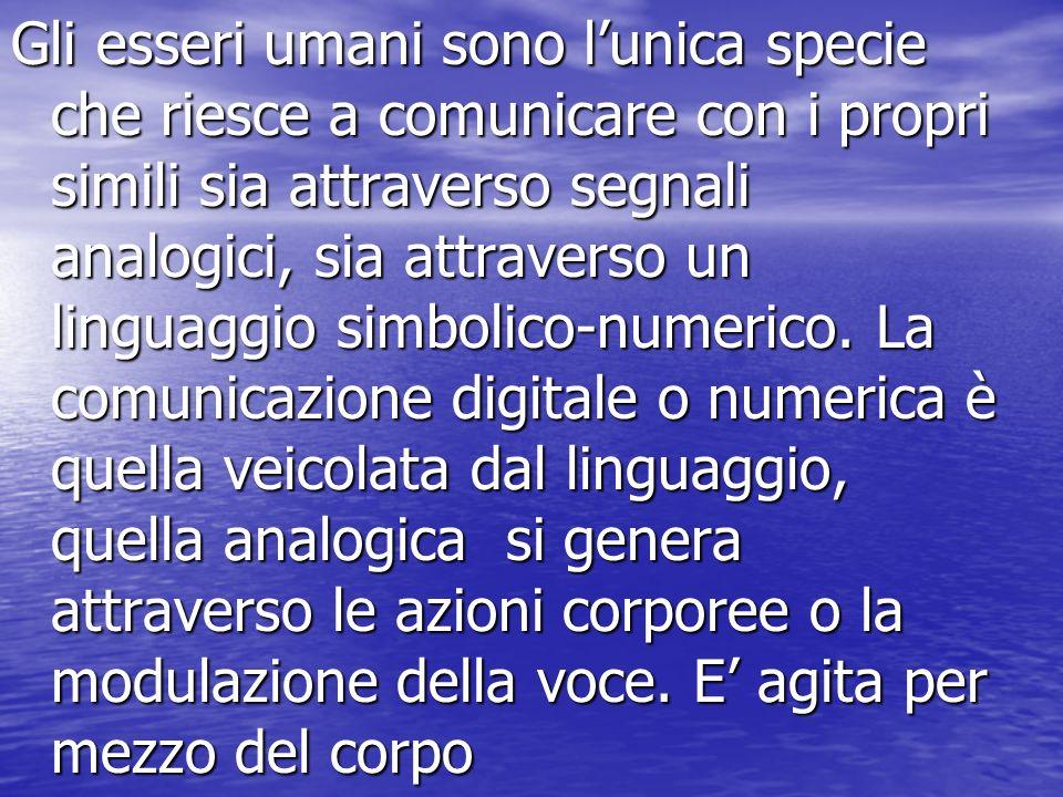 Gli esseri umani sono l'unica specie che riesce a comunicare con i propri simili sia attraverso segnali analogici, sia attraverso un linguaggio simbolico-numerico.