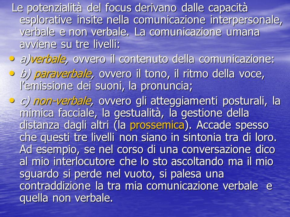 a)verbale, ovvero il contenuto della comunicazione: