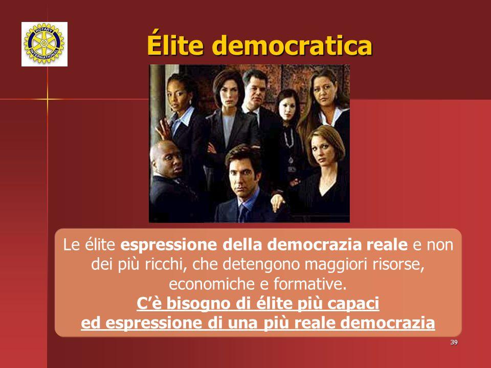 Élite democratica Le élite espressione della democrazia reale e non dei più ricchi, che detengono maggiori risorse, economiche e formative.