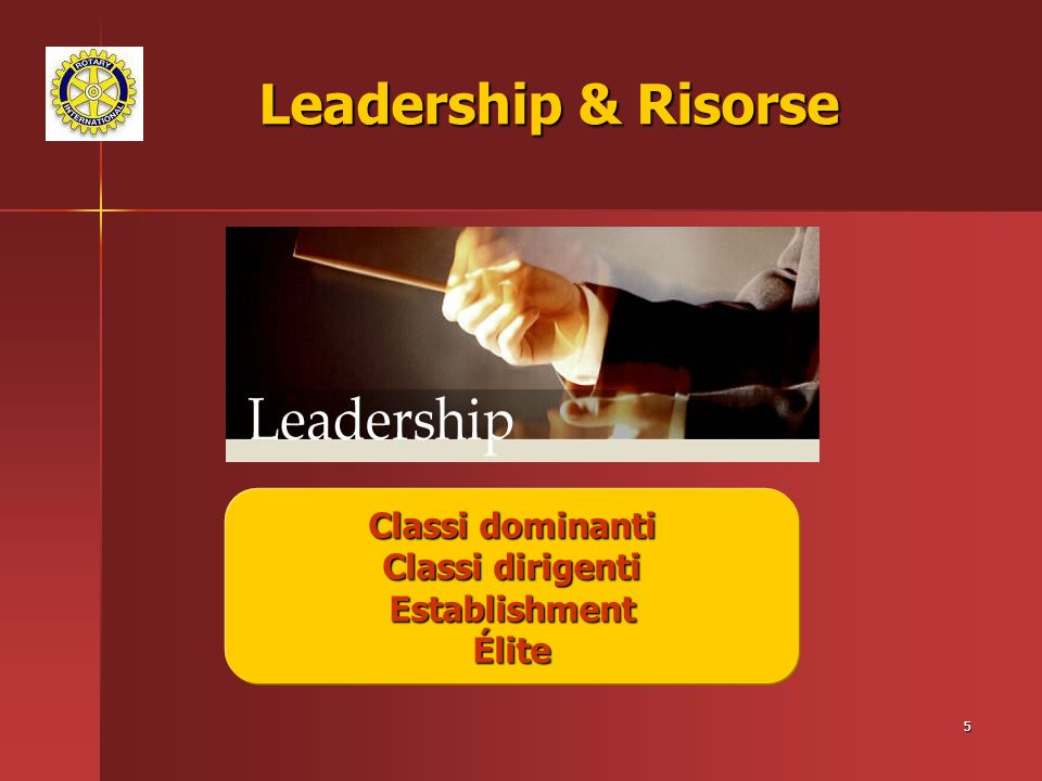 Leadership & Risorse Classi dominanti Classi dirigenti Establishment