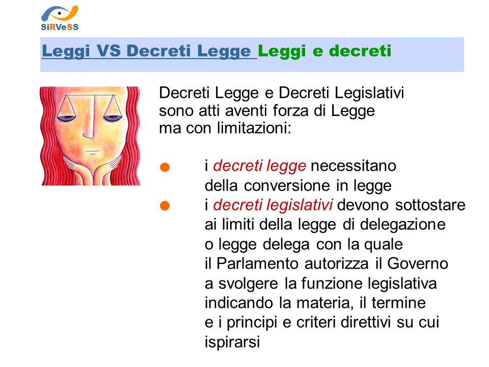 Leggi VS Decreti Legge Leggi e decreti