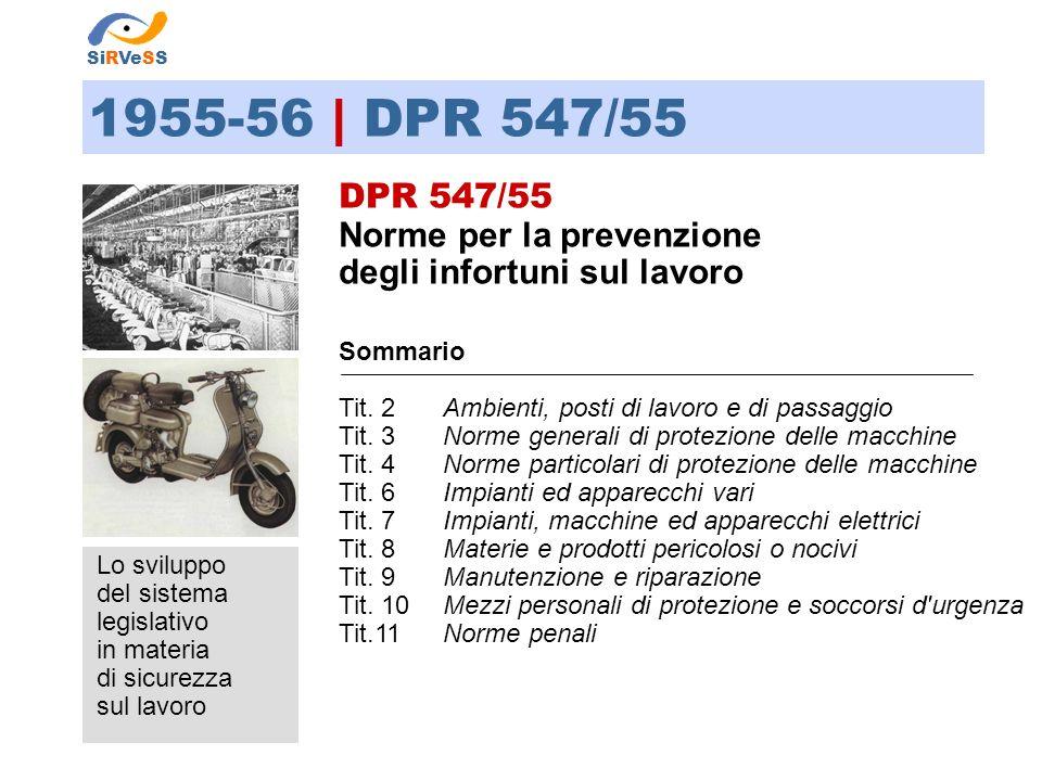 1955-56 | DPR 547/55 DPR 547/55 Norme per la prevenzione