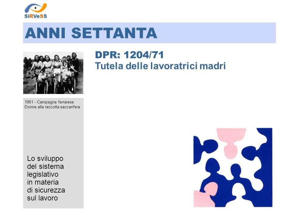 ANNI SETTANTA DPR: 1204/71 Tutela delle lavoratrici madri Lo sviluppo