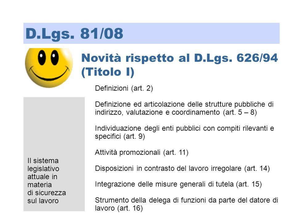 D.Lgs. 81/08 Novità rispetto al D.Lgs. 626/94 (Titolo I)