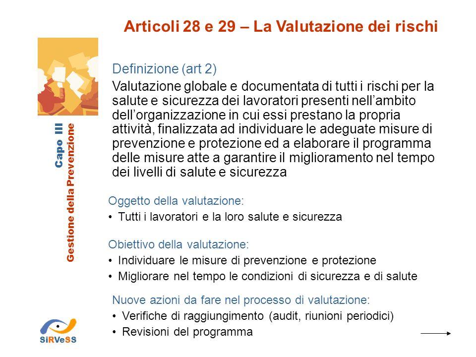 Articoli 28 e 29 – La Valutazione dei rischi