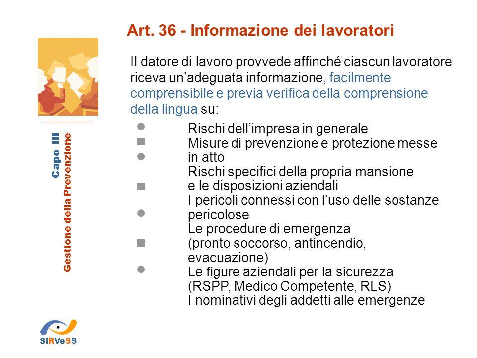 Art. 36 - Informazione dei lavoratori