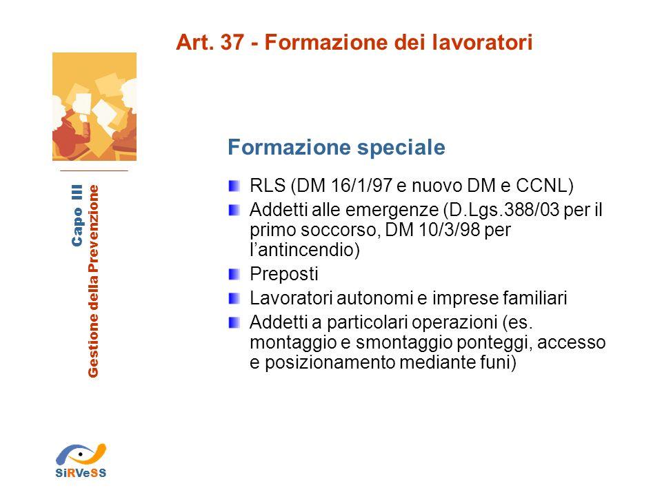 Art. 37 - Formazione dei lavoratori